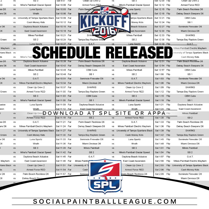 2016 SPL Kickoff Schedule