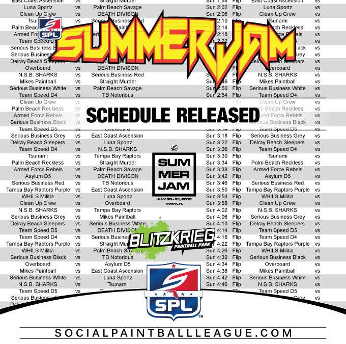 2016 SPL Summer Jam Schedule Released