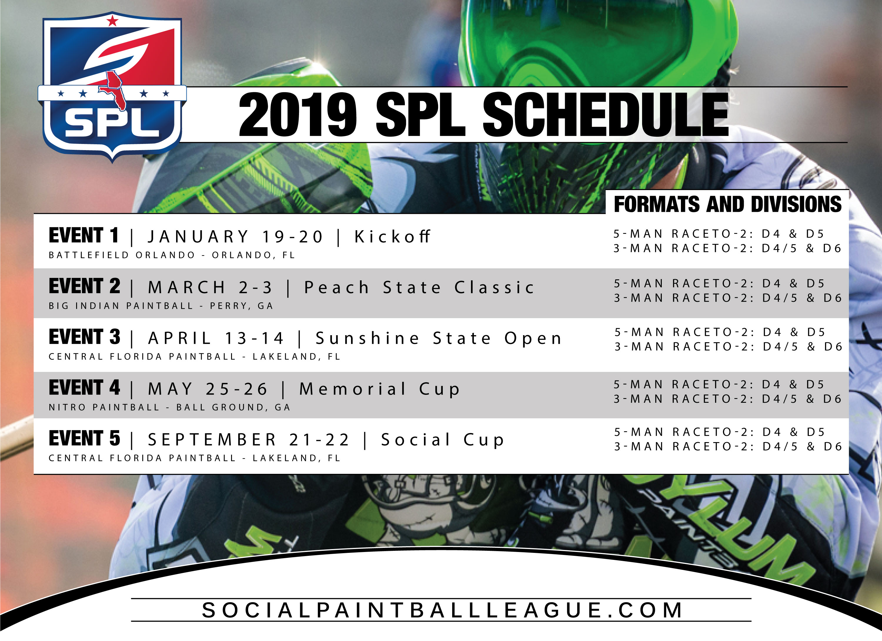 Florida Calendar Of Events 2019 SPL Events Calendar | SPL Florida & Georgia Paintball
